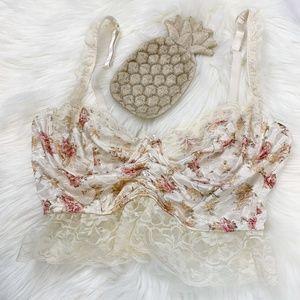 Elegant Moments Vintage Insp. Floral Lace Bra EUC!